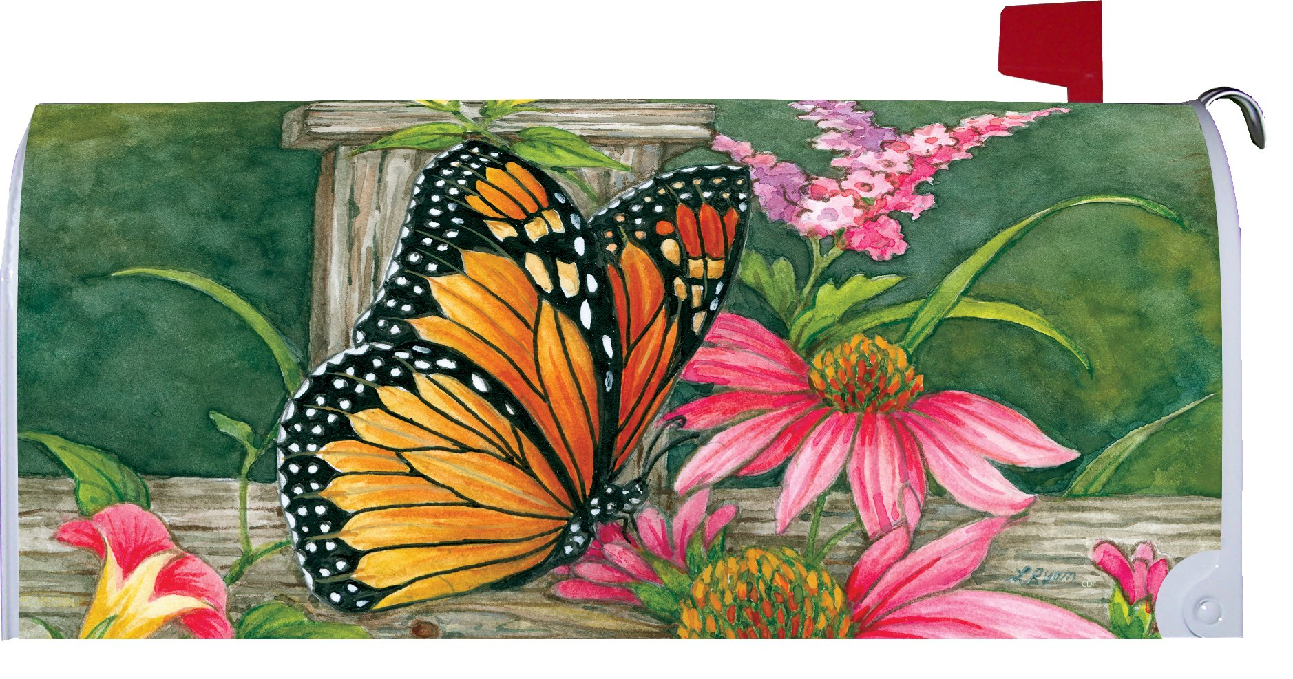 Butterfly Fence - Mailbox Makover Cover - Vinyl witn Magnetic Strips for Steel Standard Rural Mailbox - Copyright, Licensed and Trademarked by Custom Decor Inc.