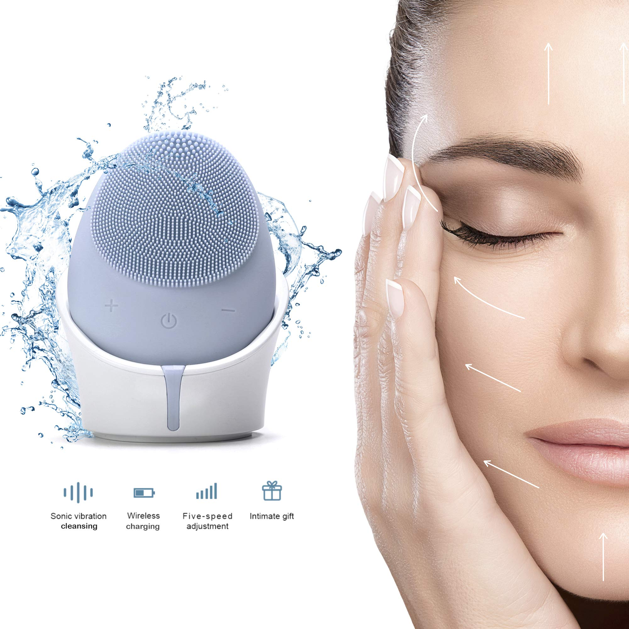 Facial Cleansing Brush Wireless - Experience Gentle Facial Exfoliation with This Electric Rechargeable Waterproof Facial Brush - Deep Clean Brush Heads