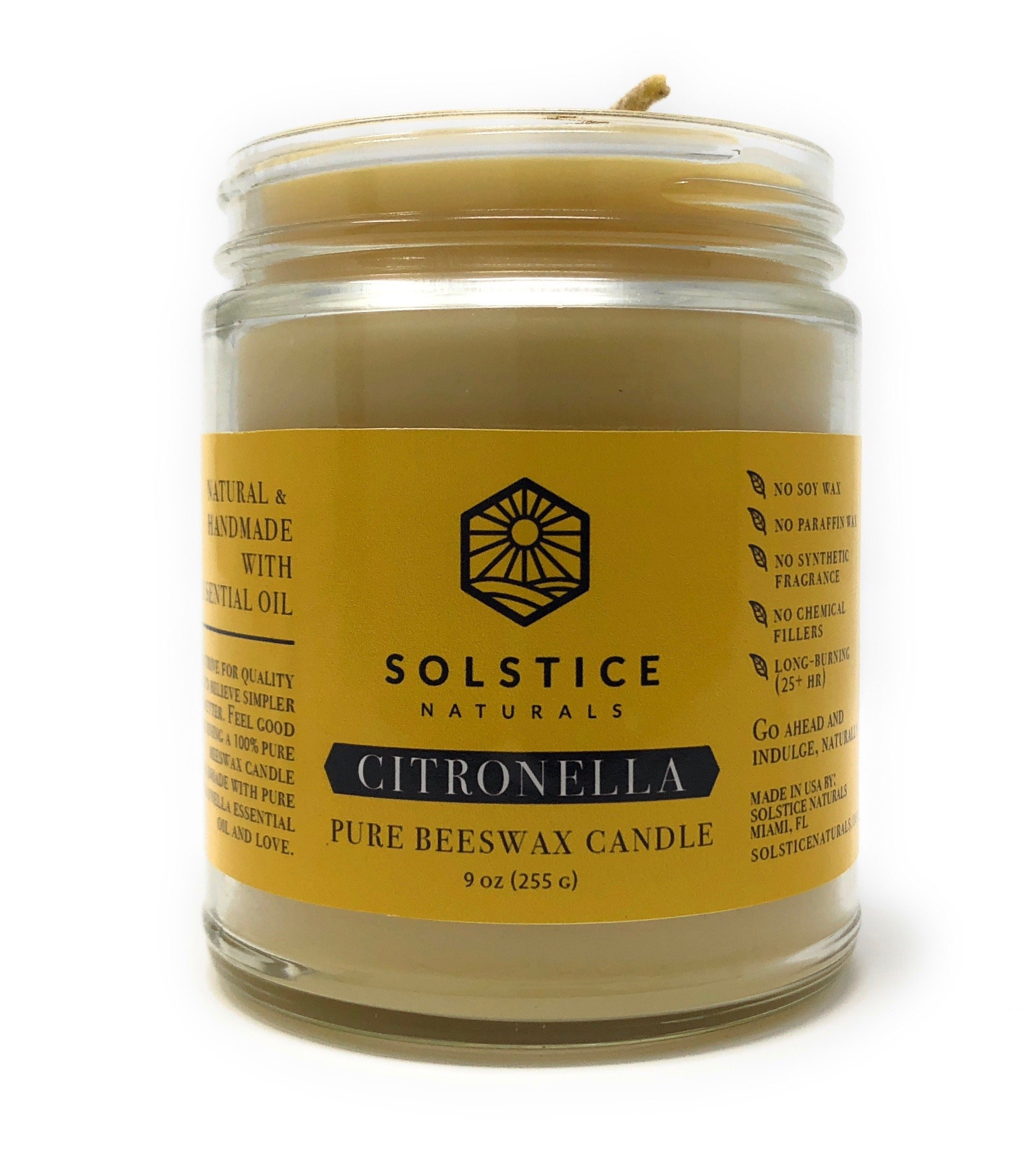 Citronella Scented All Natural 100% Pure Beeswax Aromatherapy Candle Made with Essential Oil, 9 oz - Great for Outdoors Home Bathroom Living Room Office Study Yoga Spa