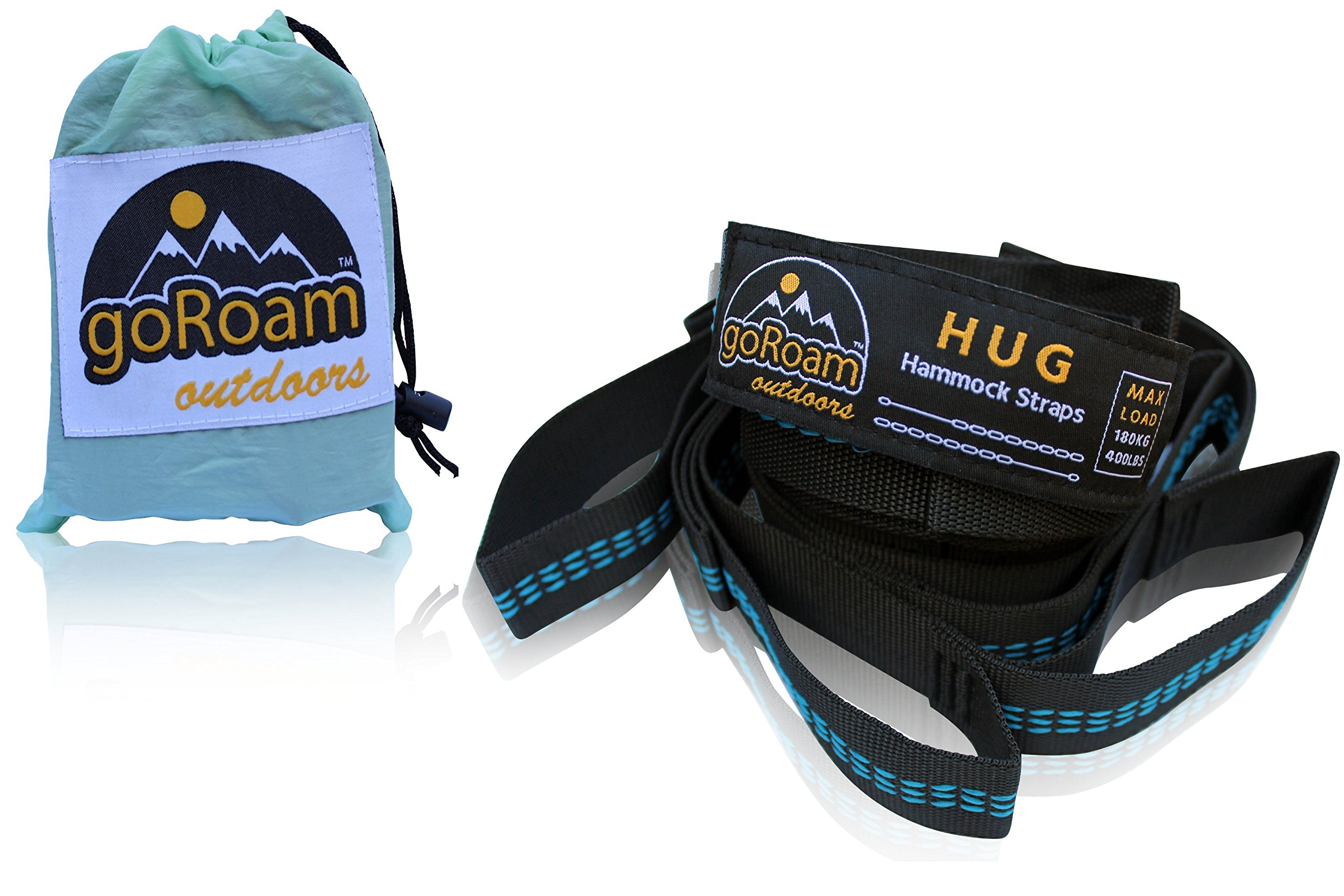 goRoam Outdoors HUG Hammock Straps Set Plus Carry Pouch. Strong Non-Stretch Polyester with 8 Loops for Fast & Easy Setup. Max load 400lbs/180kg Per Strap. (Black & Blue, 8 Loop Strap Set)