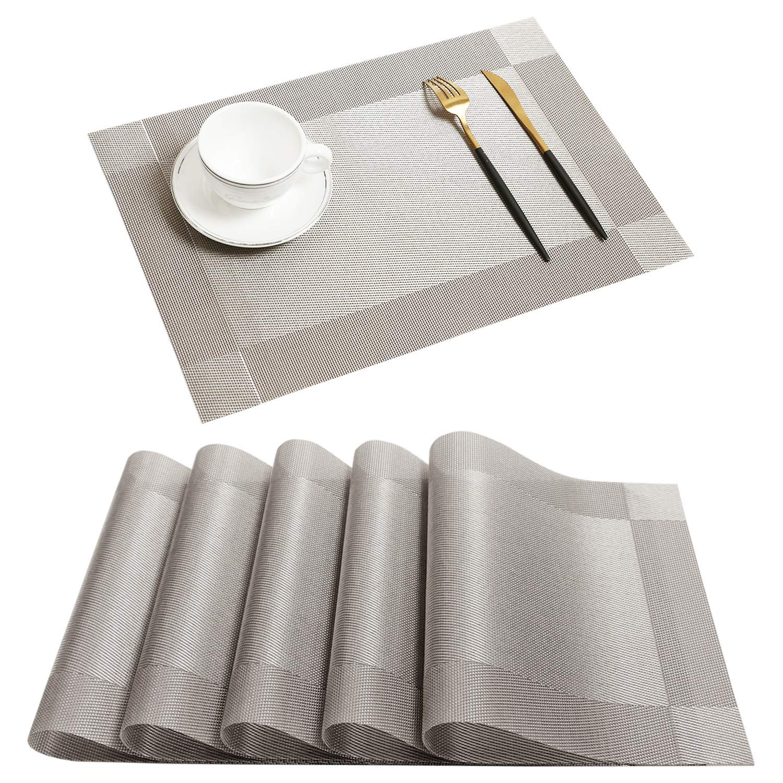 Homcomoda Vinyl Grey Placemats Heat Resistant Dining Table Mats Non-Slip Washable Place Mats Set of 6(Grey)