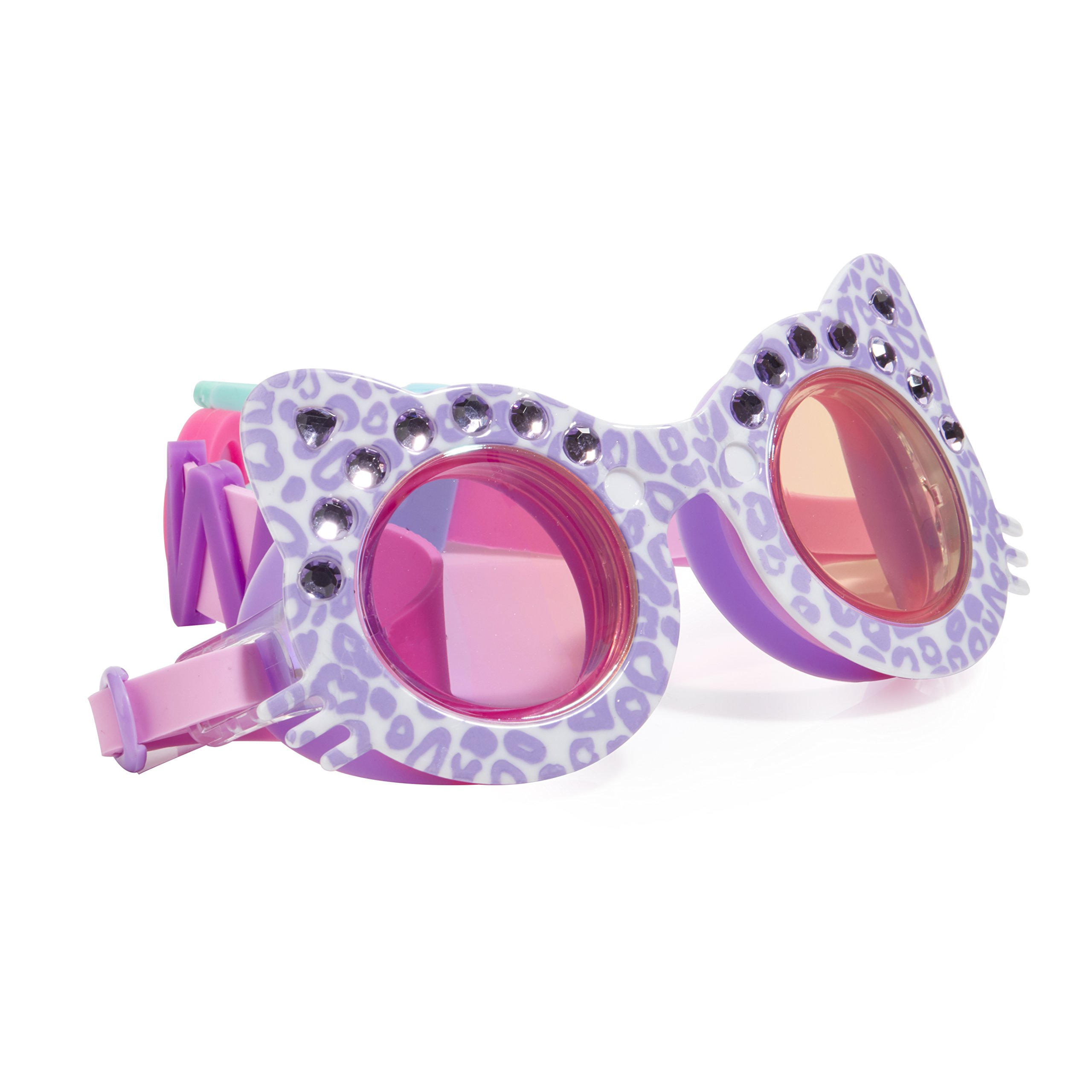 Cat Shaped Swimming Goggles For Kids by Bling2O - Anti Fog, No Leak, Non Slip and UV Protection - Mittens Purple Colored Fun Water Accessory Includes Hard Case