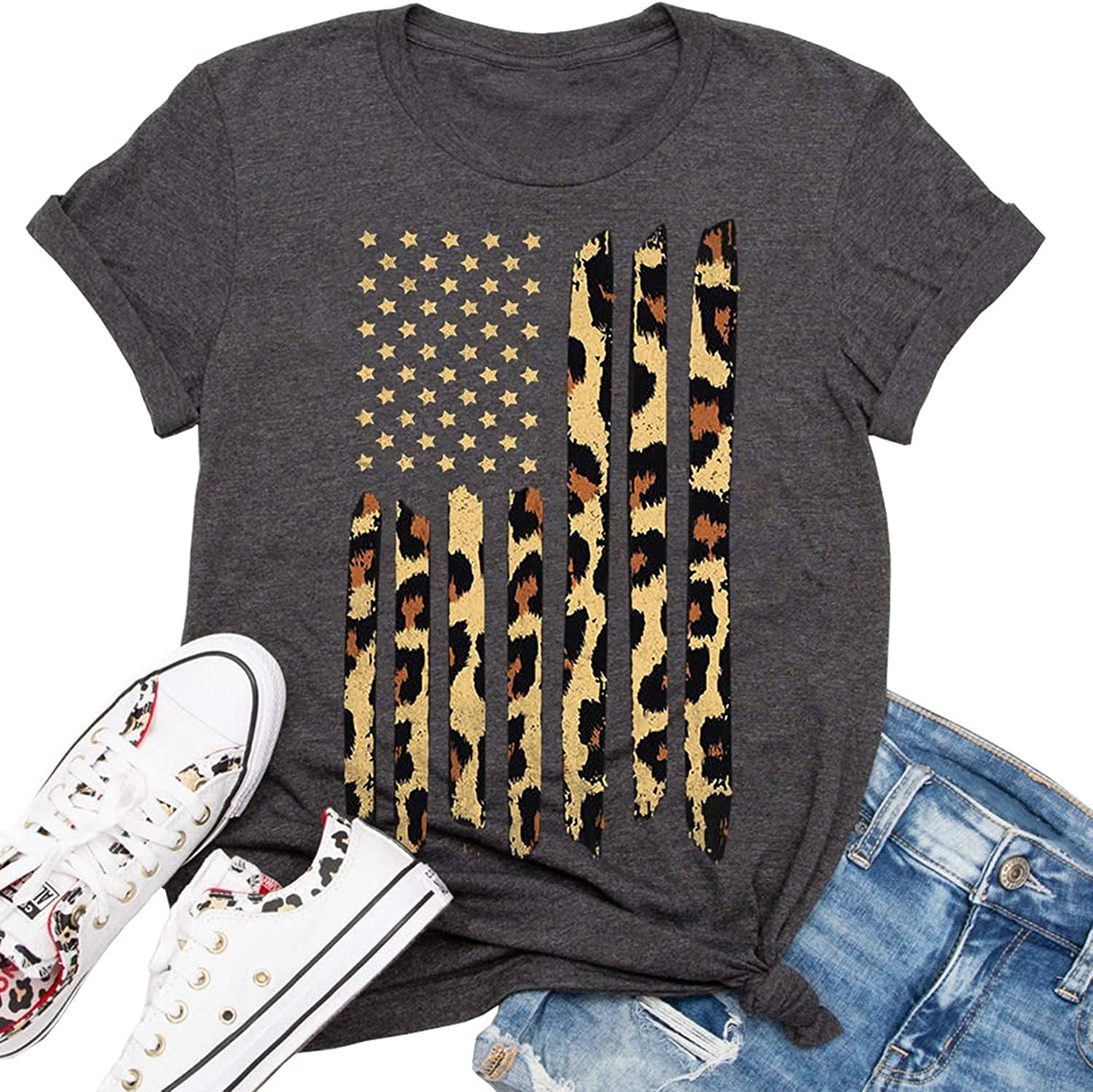 Beopjesk Womens American Flag T-Shirt Cute July 4th Independence Day Patriotic Graphic Tees Tops
