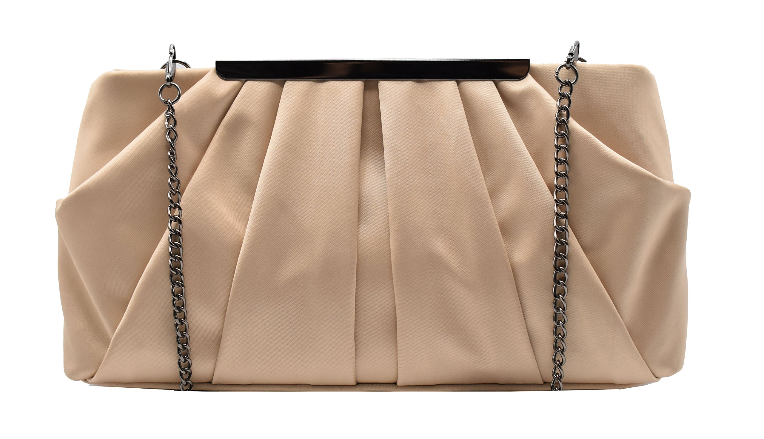 Womens Pleated Satin Evening Handbag Clutch With Detachable Chain Strap Wedding Cocktail Party Bag (Beige)