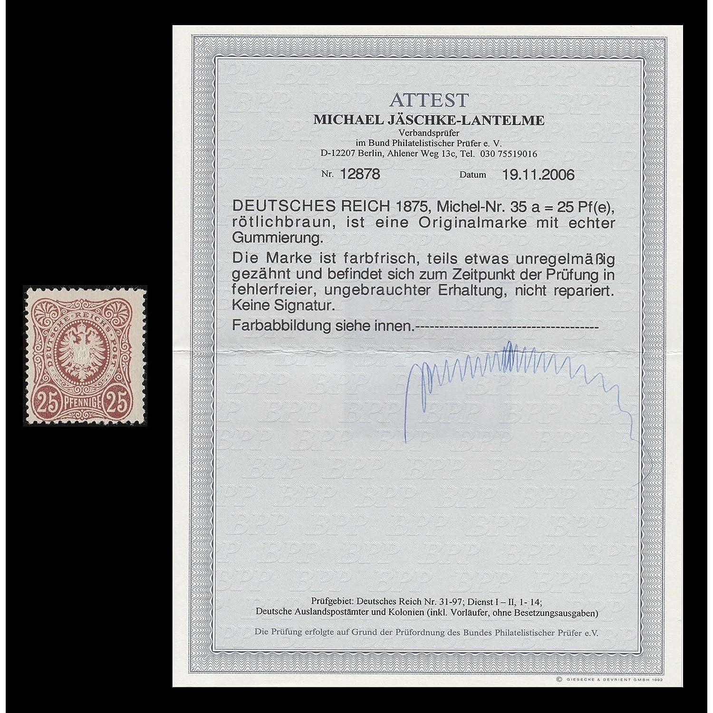 Goldhahn Deutsches Reich Nr. Nr. Nr. 35a ungebraucht mit Fotoattest Jäschke-Lantelme Briefmarken für Sammler c5345d