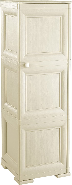 Plastic Cream TONTARELLI 8085566210 Omni Mode Wardrobe with 3 Compartments and 1 Vollblatt Door