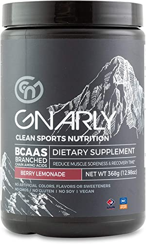 Gnarly Nutrition, BCAA Pre and Mid Workout Supplement to Reduce Muscle Soreness, Caffeinated, Berry Lemonade 30 Servings