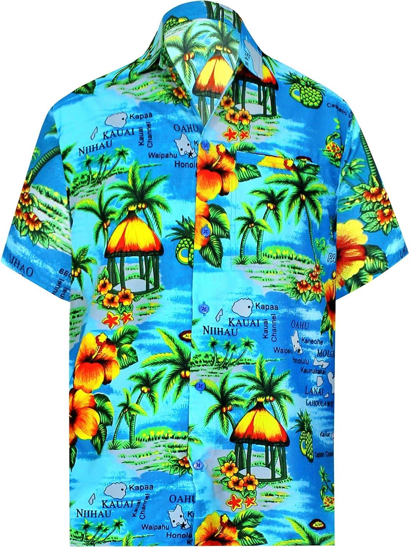 LA LEELA Hawaiana Camisa para Hombre Señores Manga Corta Bolsillo Delantero Surf Palmeras Caballeros Playa 4XL-(in cms):162-167 Azul del Trullo_W195