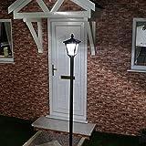 Lampadaire Noir en Aluminium 1 Tête à Énergie Solaire - 6 LED Éclairage Blanc - Produit Waterproof pour le Jardin - Intensité Réglable 36 Lumens Max. - Hauteur Ajustable (80cm, 120cm ou 210cm)