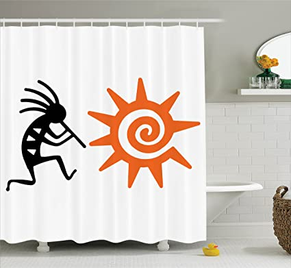 Ambesonne Kokopelli Decor Collection And Sun Spirit Of Music Childbirth Agriculture Native