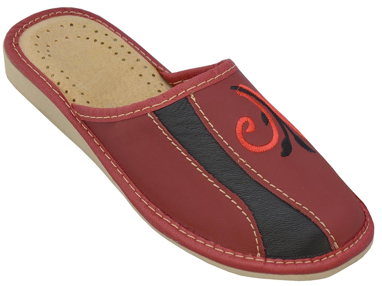 Bawal 19996 Chaussons pantoufles pour les 36-41 femmes confort naturel cuir chaussons chaussons pantoufles marron taille 36-41 rouge/noir b61f881 - automatisms.space