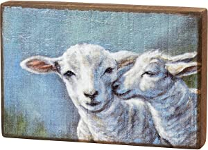 Primitives by Kathy, 105422, Sheep and Lamb Wooden Block Sign, Easter