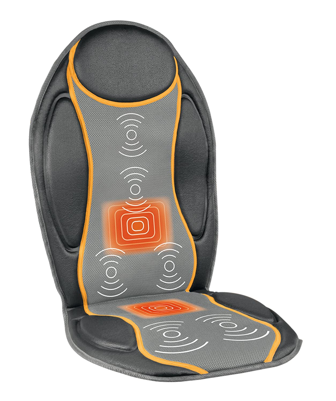 Medisana MC810 88937, Respaldo de Masaje Vibratorio, con 4 zonas de masaje, Color Gris Oscuro y Naranja