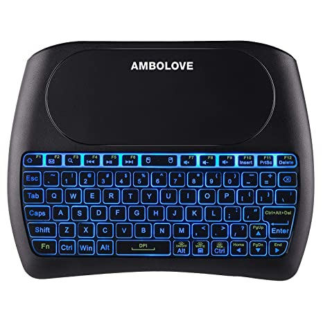 Wireless Mini Keyboard with Touchpad Mouse and Multimedia Keys, 2.4GHZ Portable USB Rechargable Li