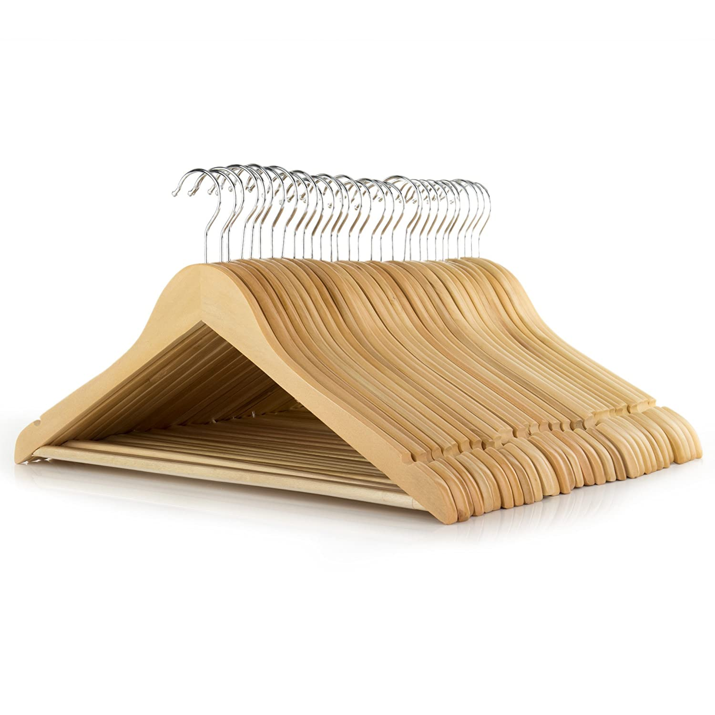 30 Naturfarbene Holz Kleiderb/ügel mit rutschfestem Hosensteg 45cm Hangerworld