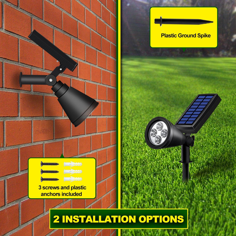 Solar Lights Outdoor, Lovin Product 2-in-1 Adjustable Solar Spotlight with 4 LED; Pir Sensor/ Auto On/Off sensor/ 2 Modes/ IP64 Waterproof/ Super Bright Wall / Landscape Lights (4 Pack) by LOVIN PRODUCT (Image #6)