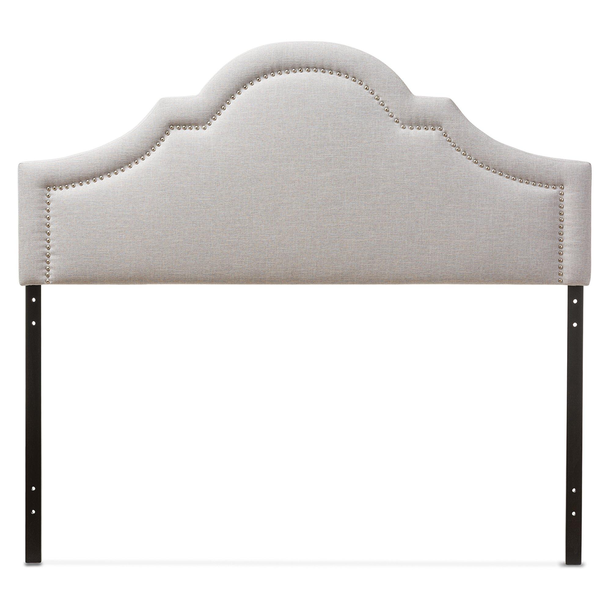 Baxton Studio Jardan Modern & Contemporary Fabric Upholstered Headboard, Full, Greyish Beige