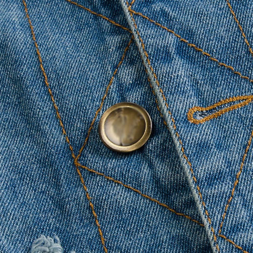Byqny Hombre Talla Grande Arrancado Chaqueta de Mezclilla Chaleco Vaquero de Sin Manga Slim Fit Jeans Denim Vest