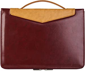 "Moshi Codex Laptop Case for MacBook Pro 15""-16"", Lightweight Vegan Leather, Weather-Resistant Coating, Viscotex Memory Foam, Protective Carrying Bag Stylish Sleeve, Burgundy Red"