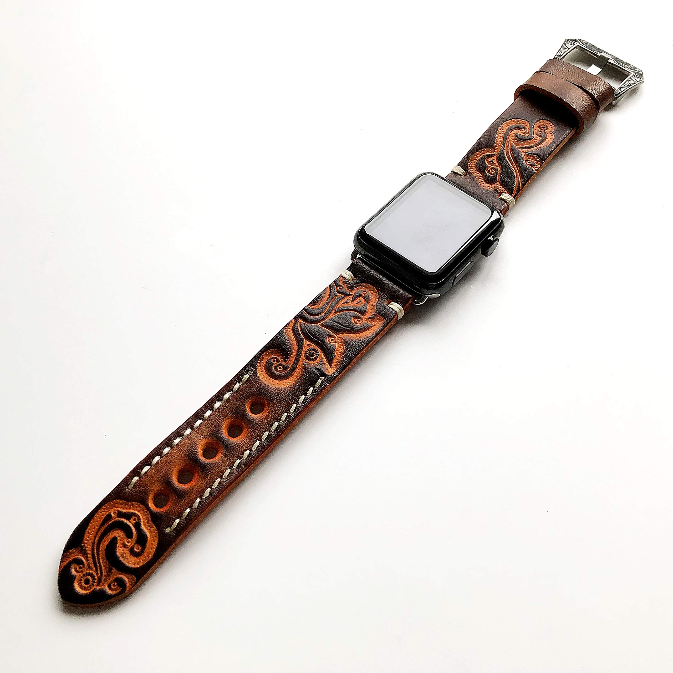 Brown with Orange Tooled Embossed Genuine Leather Band Strap Bracelet with Engraved Buckle for iWatch 38mm Apple Watch 1 2 3 4 Compatible with Nike Hermes Edition with Gift Box by NICKSTON (Image #3)
