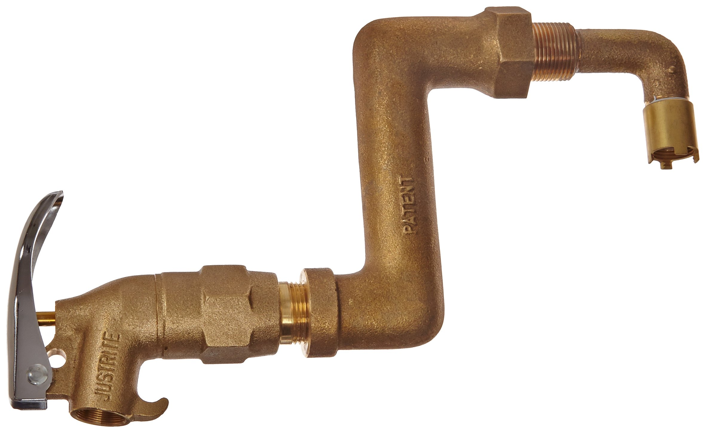 Justrite 08308 Brass Drum Siphon Adapter and Self Closing Faucet