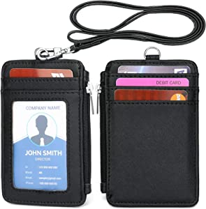 Leamekor ID Badge Holder with Neck Lanyard PU Leather ID Badge Wallet Case with 1 ID Window, 4 Card Slots, 1 Side Zipper Pocket