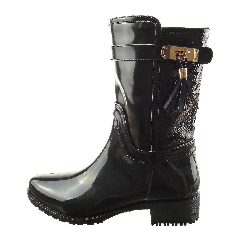 Sopily - Scarpe da Moda Stivaletti - Scarponcini Stivali - Scarponi stivali  pioggia donna pelle di serpente fibbia Tacco a blocco 3.5 CM - soletta  sintetico ... 80afe27d149