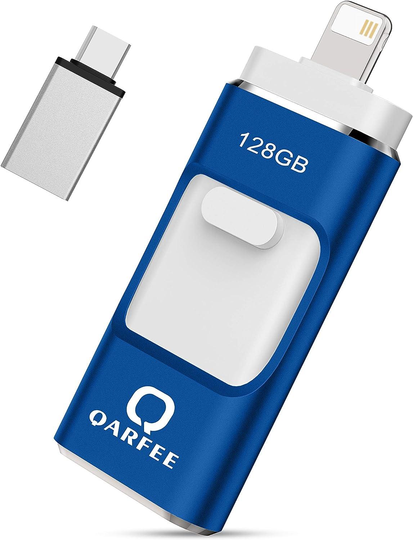 USB Flash Drive, Qarfee Photo Stick, 128GB External Storage Memory Stick Photostick Mobile, Thumb Drive USB 3.0 Compatible iPhone/iPad/PC/Type C/Android Backup OTG Smart Phone-Blue