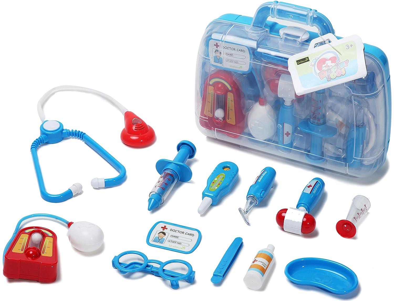 Unilove Arztkoffer Set Doktor Spielzeug Arzt Spielset fü r Kinder Arztkö fferchen Set Doktorkoffer Spielzeug (Blau)