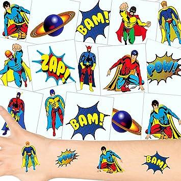 German Trendseller® 12 x tatuajes temporales héroes┃ fiestas infantiles┃ idea de regalo┃piñata┃cumpleaños de niños┃ 12 unidades…
