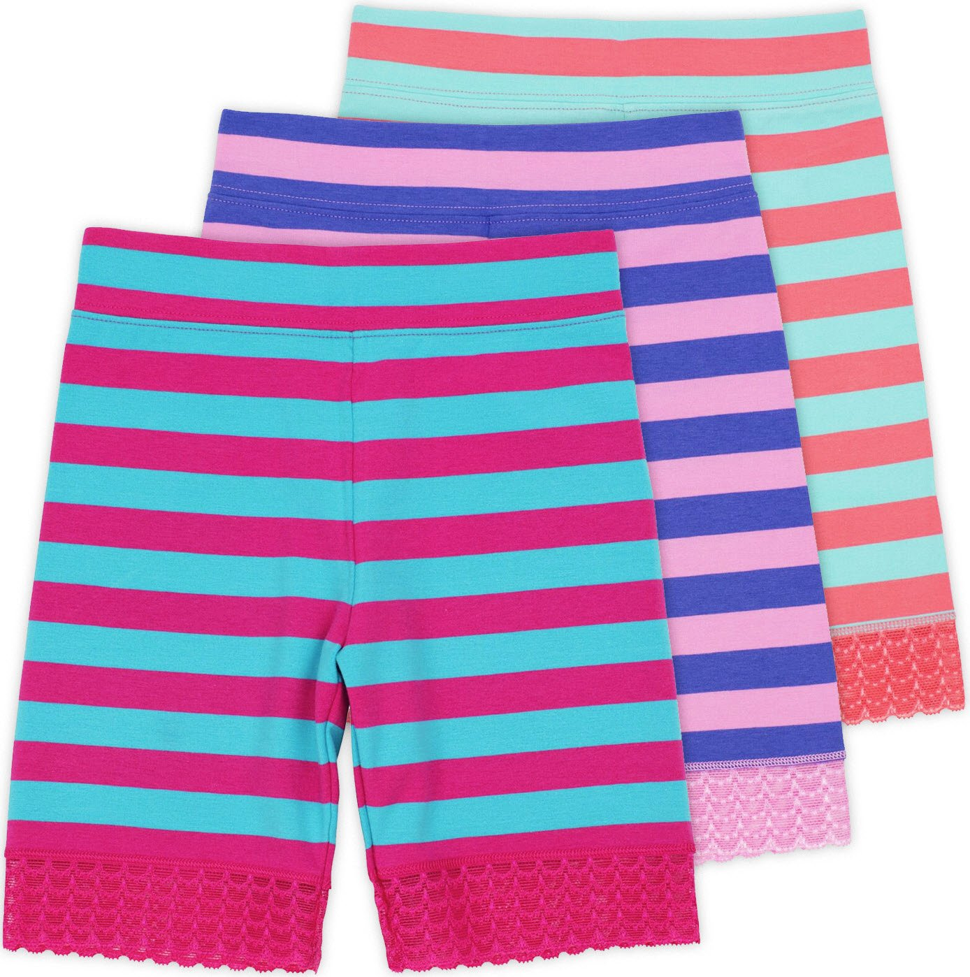 Lucky & Me Jada Little Girls Bike Shorts, Tagless, Soft Cotton, Lace Trim, Underwear, Striped 3 Pack, 6