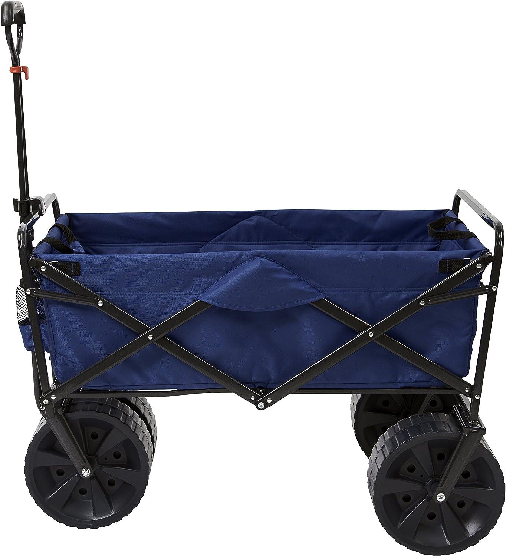 Mac Sports Heavy Duty Collapsible Folding All Terrain Utility Beach Wagon Cart, Blue Black