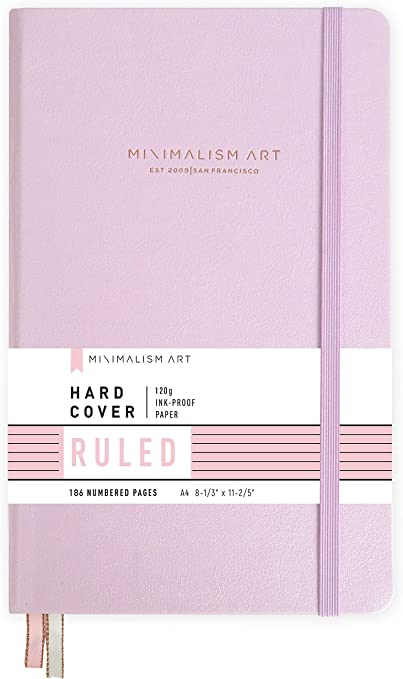 Ruled Lined Page Minimalism Art 192 Pages Classic Notebook Journal Inner Pocket Designed in San Francisco A4 Size 8.3 X 11.4 inches Quality Paper-100gsm Hard Cover Black Fine PU Leather