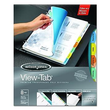 Wilson Jones View-Tab transparente separadores para archivador, 8-Tab, diseño cuadrado