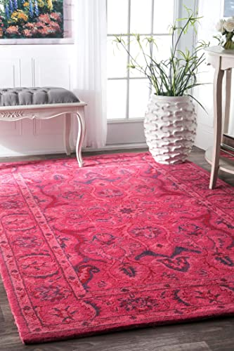 nuLOOM Leaflet Fountain Boho Accent Wool Rug, 2 x 3 , Pink
