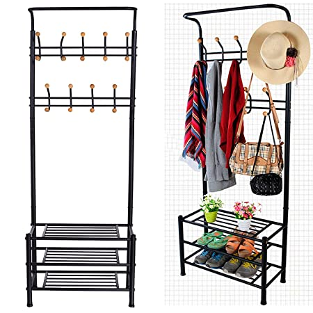 Peatao Heavy Duty Garment Rack Multi-Purpose Coat Clothes Stand with 3-Tier Shoes Rack and Hanger Bar