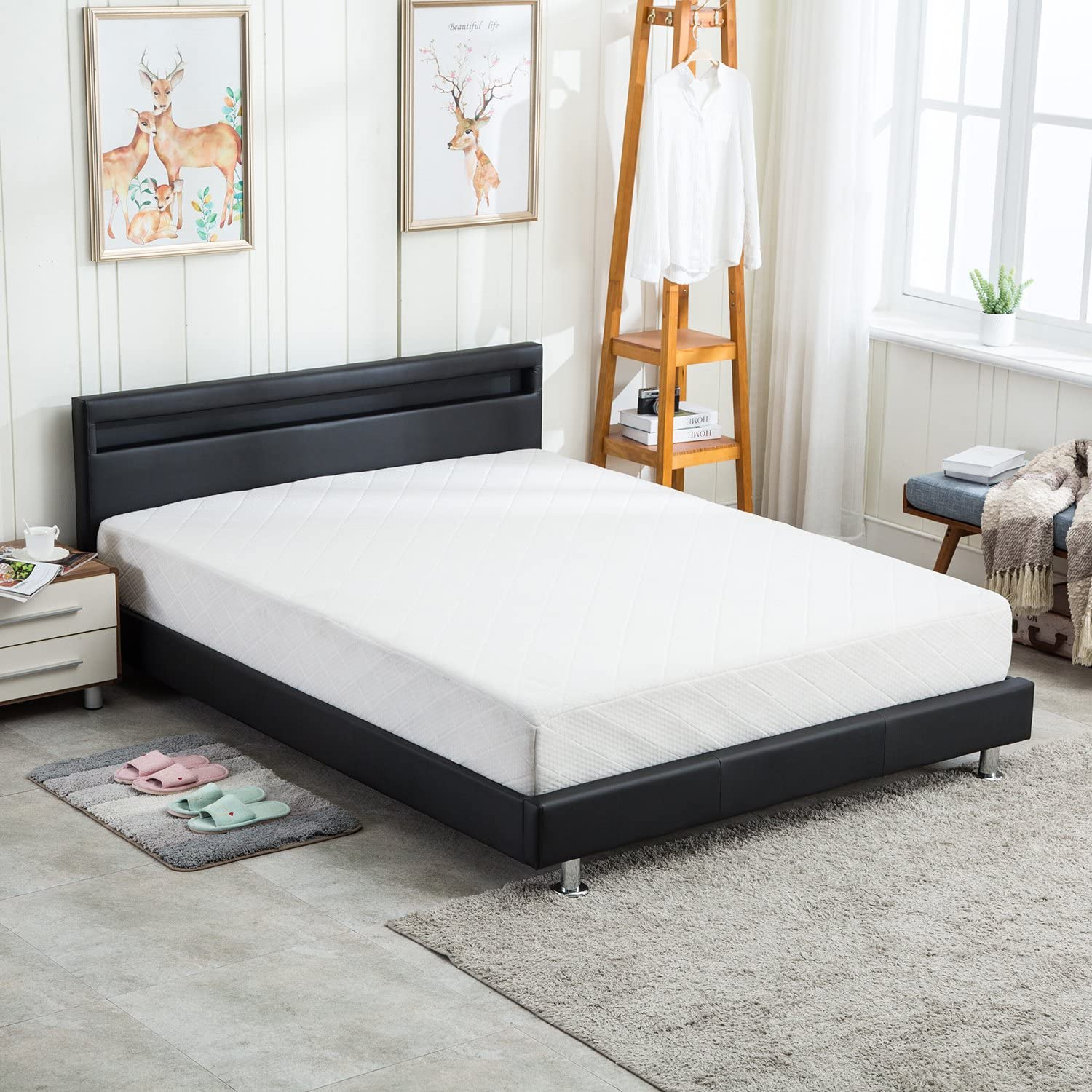 UHOM Modern Home Bedroom Bed Frame Contemporary Wood Steel PU-Leather Bed Multi-Color LED Light Headboard Queen Size Black