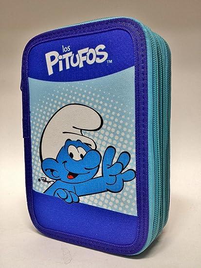 Estuche de 3 cremalleras con diseño de Los Pitufos, azul, para llevar los colores del colegio: Amazon.es: Oficina y papelería