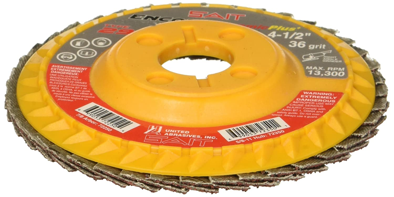 10 Per Box 36 Grit 4-1//2 X 7//8 United Abrasives-SAIT 72250 Type 29 Regular Density Encore Ceramic+