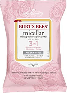 Burt's Bees Micellar Cleansing Towelettes With Rose Water, 30 Count