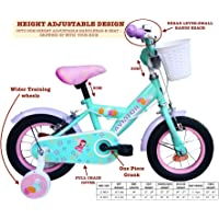 "HelloBikes High End 12 inch Kids Girls Pink Cycle Bicycle for 2-5 Years with 8"" Frame(+7cm Extension) Angle & BunnyTheme- European Brand"