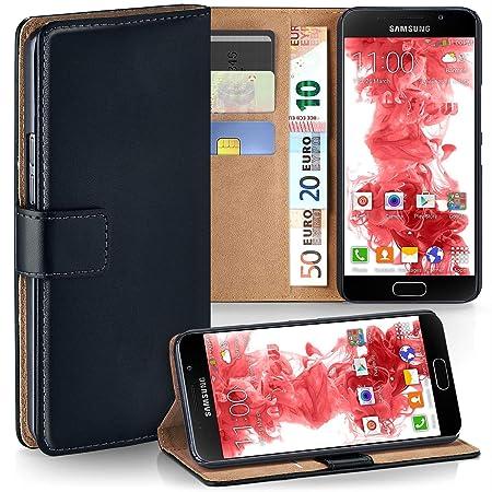 moex Samsung Galaxy A5 (2016) | Hülle Schwarz mit Karten-Fach 360° Book Klapp-Hülle Handytasche Kunst-Leder Handyhülle für Sa
