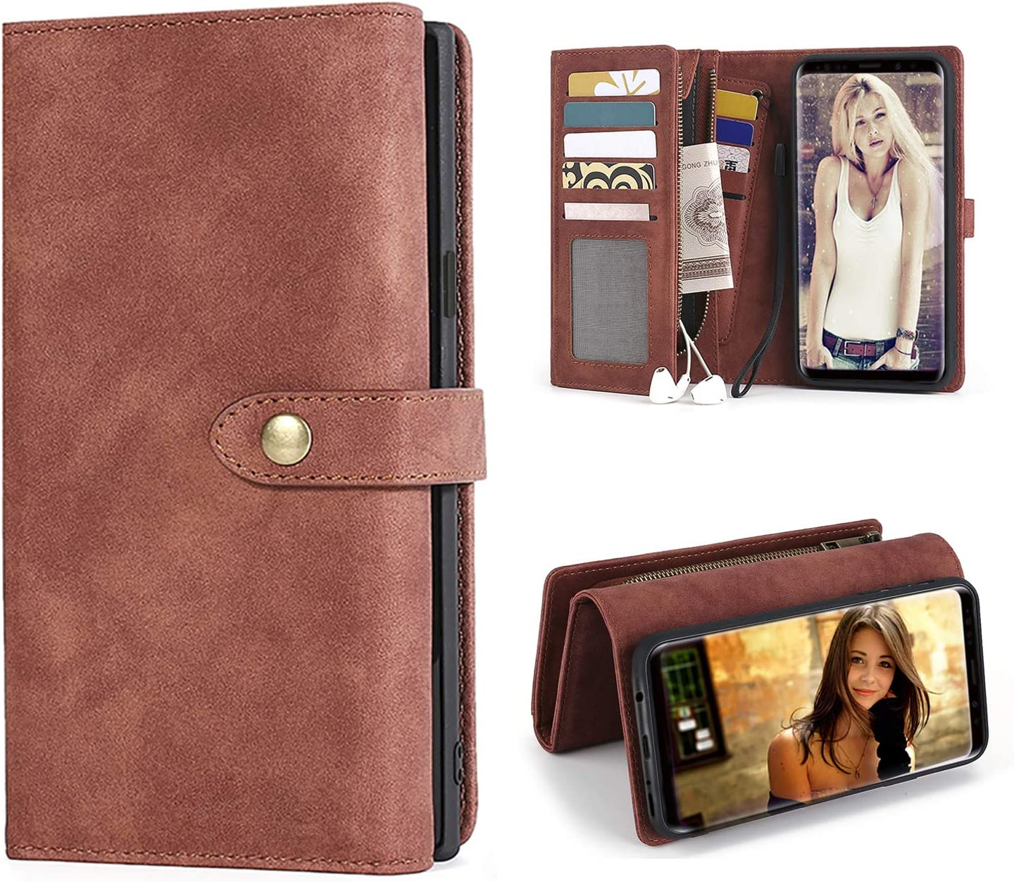 MODOS LOGICOS Samsung Galaxy S9 Plus Case, [Detachable Wallet Folio][2 in 1][Zipper Cash Storage][Up to 9 Card Slots 2 Photo Windows] PU Leather Purse with Removable Inner Magnetic TPU Case - Coffee