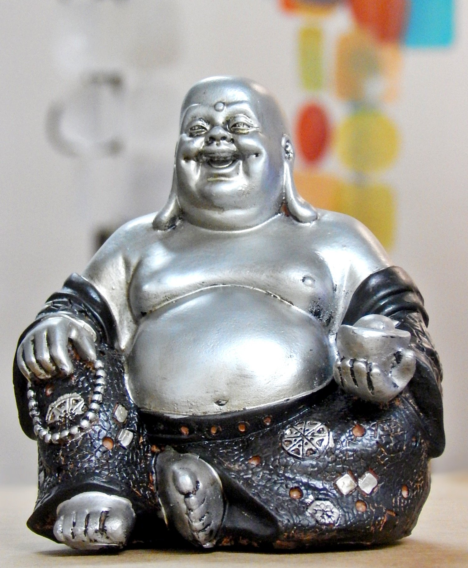 Lucky Happy Sitting Buddha Inspirational Religious Statue