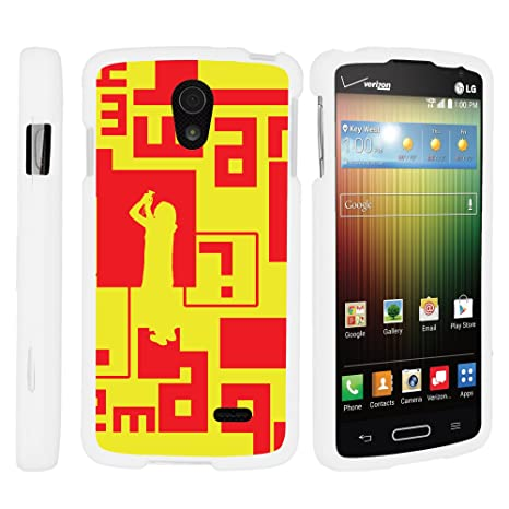 Amazon.com: MINITURTLE Case Compatible w/LG Lucid 3, Slim Hard Shell Snap On Case w/Custom Images for LG Lucid 3 VS876 (Verizon) Digital Yellow Red: Cell ...