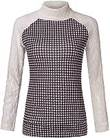 ZANZEA Women's Casual Autumn Lace Long Sleeve High Collar Slim T-Shirt Jumper Blouse Tops