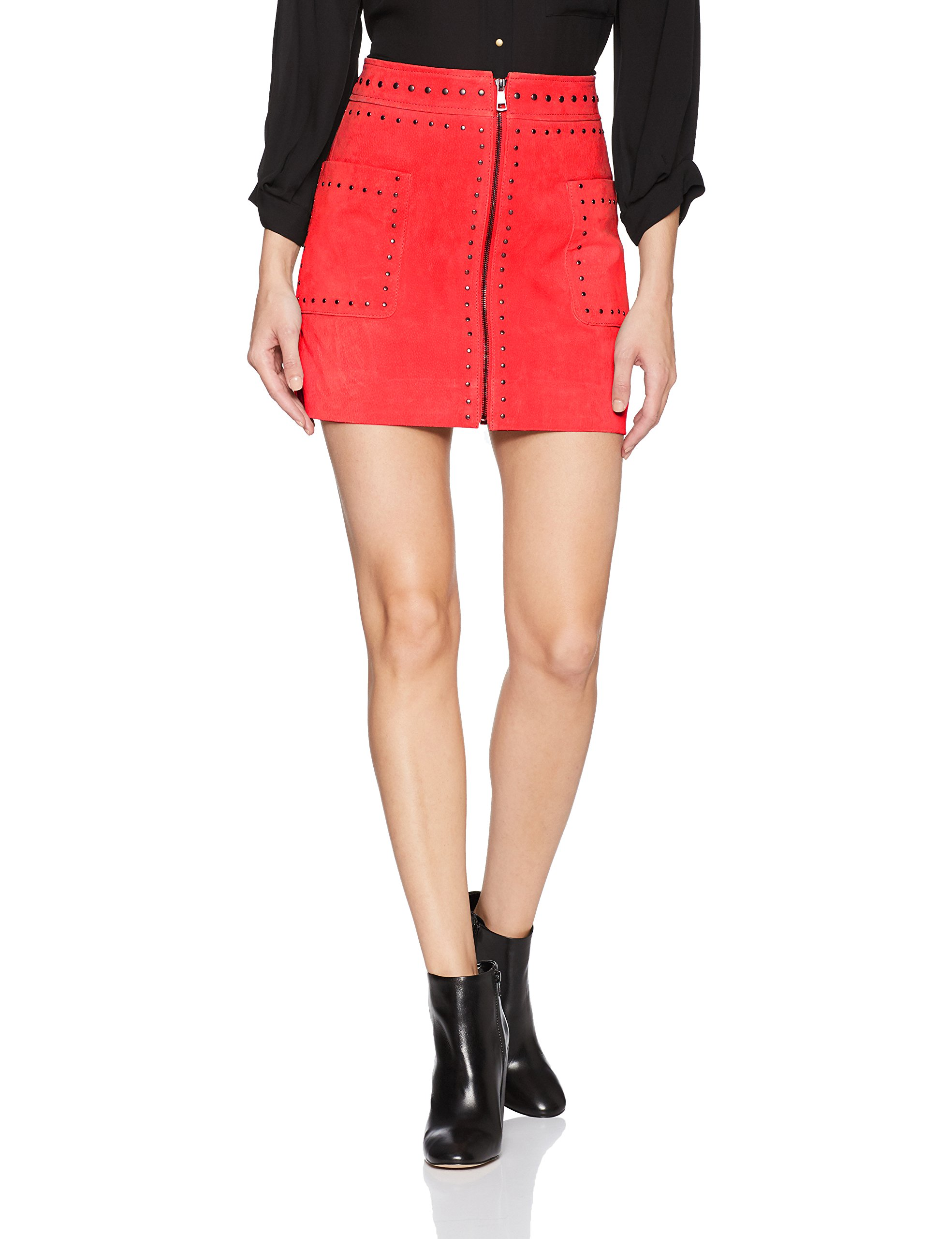 Bagatelle.NYC Women's Suede Studded Skirt, Crimson, M