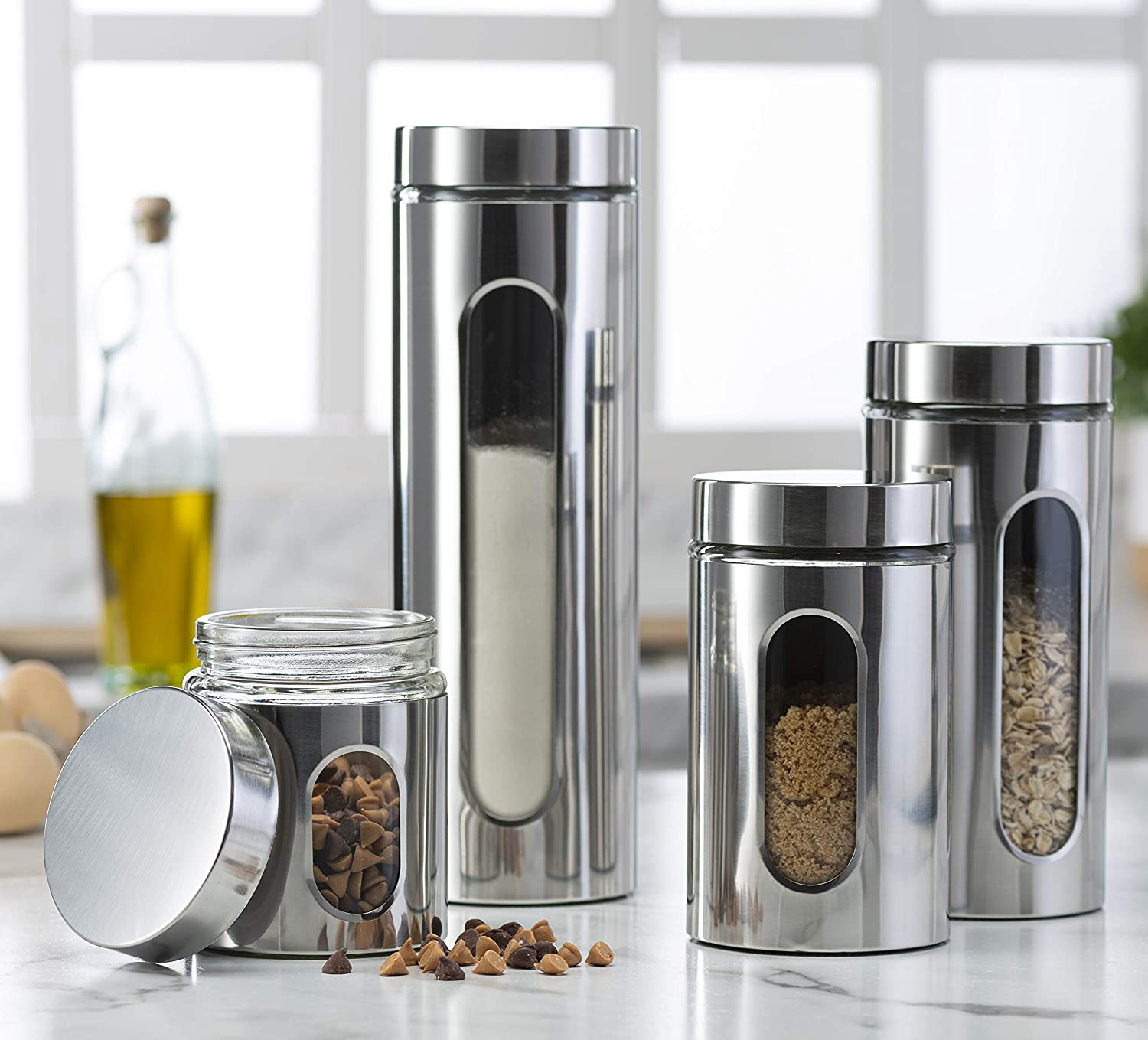 Quality Stainless Steel Canister Set for Kitchen Counter with Glass Window & Airtight Lid - Food Storage Containers with Lids Airtight - Pantry Storage and Organization Set