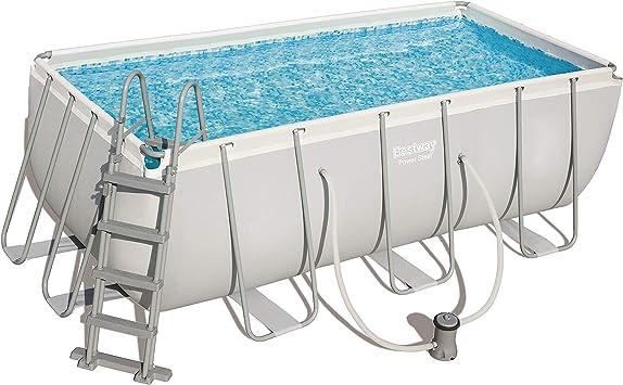 Bestway Power Steel Juego de piscinas de marco de acero con bomba de filtro y accesorios, rectangulares, 8124 litros, gris, 412x201x122 cm: Amazon.es: Jardín