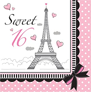 Creative Converting 661184 Sweet 16 Paris Lunch Paper Napkins, Pink/Black, 6.5